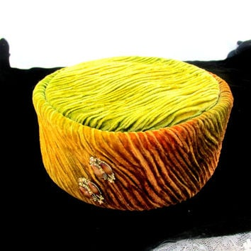Pill Box Hat With 3 Hat Pins Auburn Gold And Green Pleated Stripe Velvet Hat Autumn Fall Hat Vintage Collectible Gift Item 1722