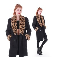 90s Vintage Black Wool Coat Leopard Print Faux Fur Oversized Collar Cuffs Hipster Retro Winter Jacket Made in the USA Women Size Medium