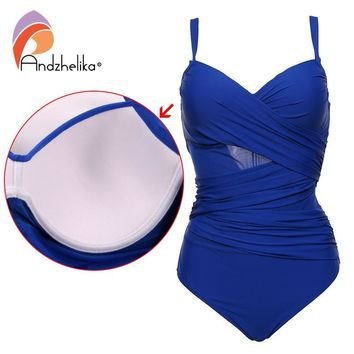 Andzhelika Sexy One Piece Swimsuit Women Summer Beachwear Vintage Mesh Swimwear Bathing Suits Bodysuit Monokini Plus Size