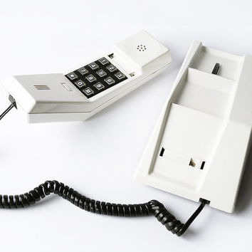 Telcer Phone White Black Telephone Handset Device Plastic Brick Phone Push Button Italian Design Decorative Collectible 80s Vintage Retro