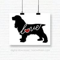 INSTANT DOWNLOAD: Cocker Spaniel Love - an original digital silhouette for wall-art / clip art / t-shirt transfers / iron ons and more