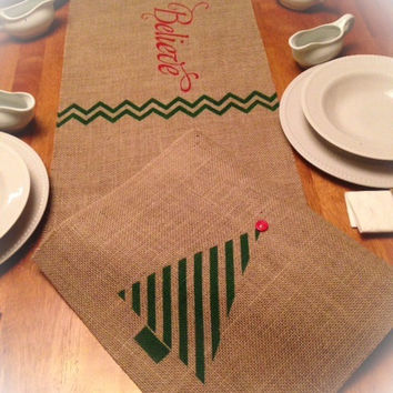"Burlap Table Runner  12"", 14"" or 15"" wide with a Christmas Tree on ends & Believe in the center with a Chevron pattern"