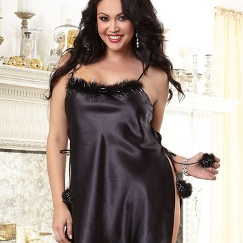 Plus Size Silky Satin and Sparkle Toga Chemise