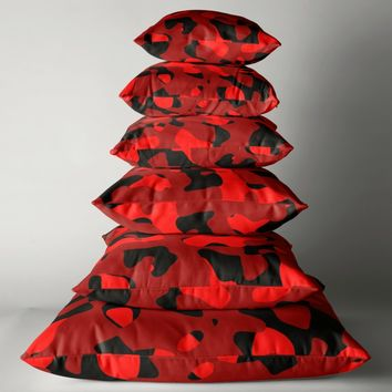 'red and black abstract' Throw Pillow by Christy Leigh