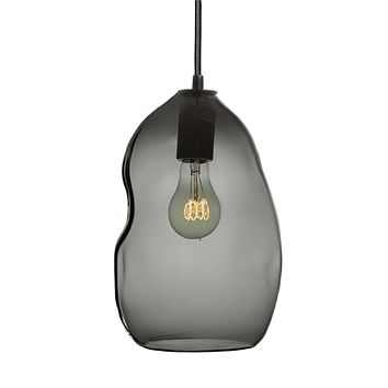 Smoke Bubble Hand Blown Glass Pendant Light- Black