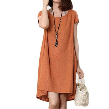 Summer Dress Large Dresses Women Cotton Linen Clothing Summer Style Casual Dress Loose-fitting Dress Vestido C212