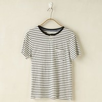 Craft + Commerce Crew Neck Stripe Henley T-Shirt