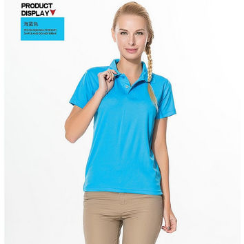 2015 new arrival polo shirts womens golf tops for summer liftstyle vintage clothing women ladies female girls slim fit polos