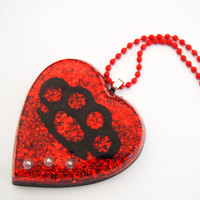 glamasaurus — Punches and Pearls Resin Heart Necklace