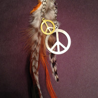 Long Feather Keychain with Peace Sign Charms- Hippie - Bohemian - Accessory - OOAK - Namaste