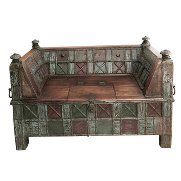 RUSTIC FARMHOUSE COTTAGE Antique Indian Bench Beautifully Carved Solid Wood Teak Sofa Chest storage Daybed Grounding iron Design