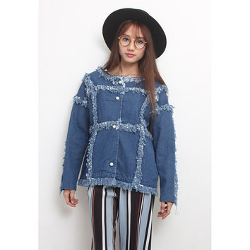 Pearl Buttons Fringing Trims Denim Jacket