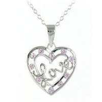 Love Heart Necklace with Pink Crystals