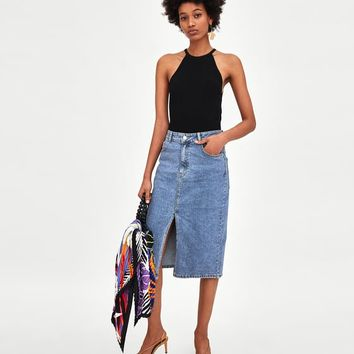 HIGH WAIST DENIM MIDI SKIRT DETAILS