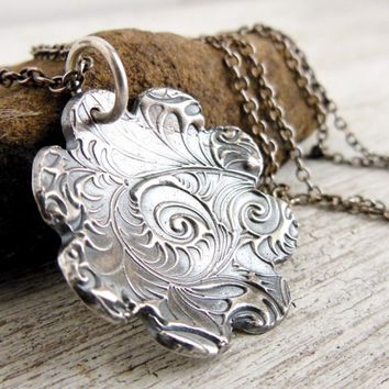 Fine Silver Flower Charm Necklace