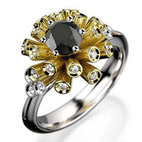 Unique Engagement ring Tube ring Black Diamond ring Flower ring Floral ring 18K Yellow & White gold Engagement gift 16 standing tubes