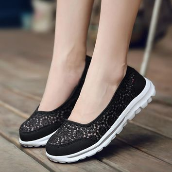 2018 Spring Summer Mesh Breathable Loafers Women's Sport Shoes Running Sneakers For Girls Lace Lightweight Flats Boat Shoe