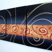 "triptych black gold art wall canvas modern painting grey orange modern ""Circular Symphony"""