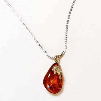 Baltic Amber Pendant Sterling Silver Floral Bail and Sterling Chain Vintage
