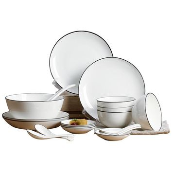 18pieces Japanese creative bone china tableware bowl dishes set home European simple combination of ceramic dish
