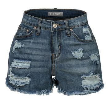 LE3NO Womens Stretchy Fitted Medium Rise Ripped Denim Shorts with Pockets