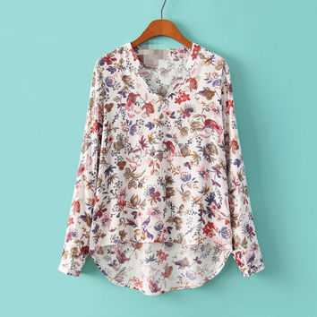 Floral Stand V-neck Long Sleeves Fashion Blouse