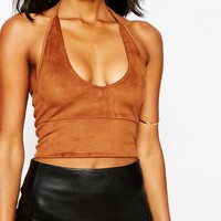 River Island Suedette Halter Neck Top