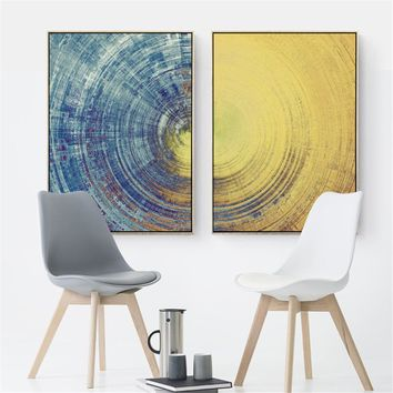 Canvas Wall Art: Abstract Dark Universe Round Lines with Color Gradient Wall Art