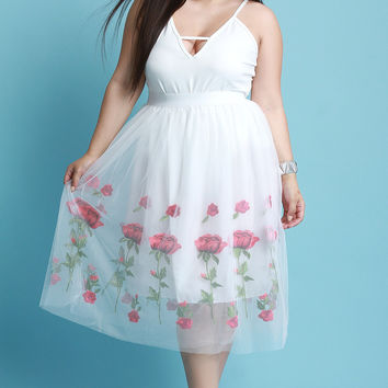 Floral Embroidered Tulle A-Line Skirt