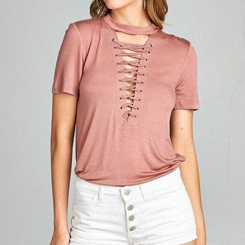 Misty Lace Up Choker Deep V-Neck Top - Dusty Pink