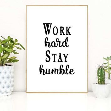 Typography Motivational Quotes Work Hard Stay Humble Art Canvas Prints - Office Decor