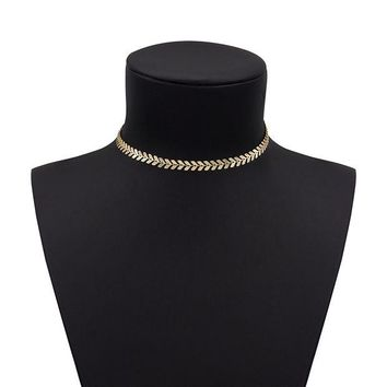 LMFXT3 Boosic Coin and Chevron Chain Necklace for Women, Golden