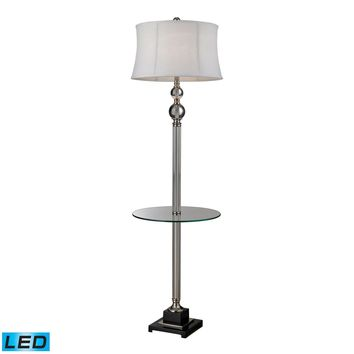 Crystal LED Floor Lamp With Glass Tray And Pure White Textured Linen Shade Clear,Polished Nickel