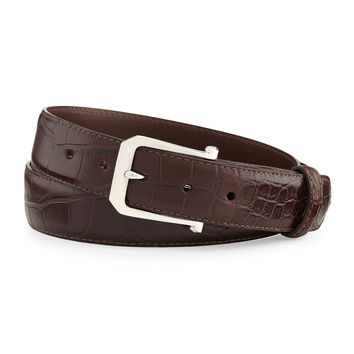 Matte Alligator Belt with Sterling Silver Buckle, Chocolate (Made to Order)