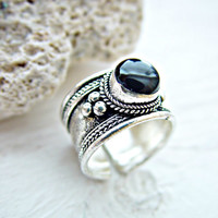 Tibetan Ring - Tibetan Jewelry - Nepal Ring - Boho Ring - Black Stone Ring - Gypsy Ring - Tribal Ring - Ethnic Ring