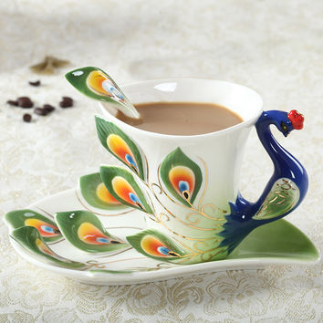 Enamel Peacock Coffee Mug Creative Tea Milk Cup Set Bone China 3D Color Porcelain Saucer Spoon Drinkware