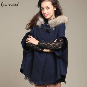 Gamiss 2016 Hot Autumn Women Girls Faux Fur Shawl Wool Hooded Poncho Batwing Half Sleeve Cape Coat Winter Jacket Cloak Poncho