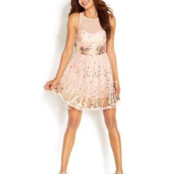 Crystal Doll Juniors Dress, Sleeveless Mesh Paillettes | macys.com