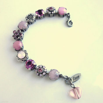 Swarovski crystal bracelet, tennis bracelet, 11mm  pink and opals, better than sabika, ooak, GREAT PRICE