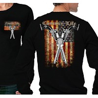 Country Life Outfitters USA American Flag Guns Vintage Unisex Black Long Sleeves Bright T Shirt
