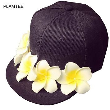 Pink Black Caps with Flower Patchwork Baseball Hat for Womens Hip Hop Caps Adjustable Fashion Casquette All Match Ladies Hats