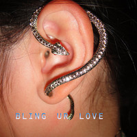 rose gold snake statue Ear Cuff Earrings