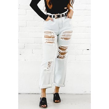 Call It Quits Light Wash Ripped Jeans