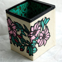 Flower Hanji Pen Holder with Mirror OOAK Handmade Pencil Case Make up Brush Holder Desktop Organizer Pencil Container