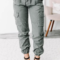 Army Green Cargo Jogger Pants