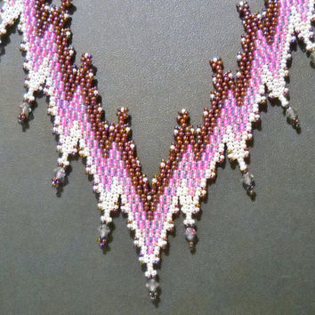 Purple Bargello Necklace With Swarovski Crystal, Statement Necklace, gift for her, Bargello pattern, Bargello necklace, purple jewelry