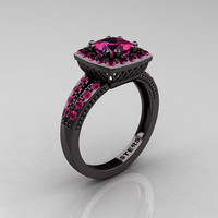 Classic 14K Black Gold 1.23 Carat Princess Pink Sapphire Solitaire Engagement Ring R220P-14KBGPS