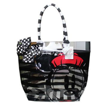 Fashion Minnie Mickey Mouse PVC Plastic Waterproof Transparent Bow Black Stripes Women Beach Bag Tote Shoulder Bags Handbag