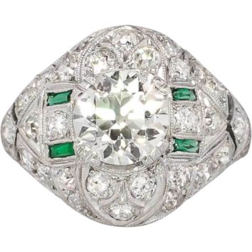 Extraordinary 2.73ct t.w. 1920's Old European Cut Diamond Emerald Engagement Ring Platinum