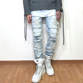 YINOS Patch Ripped Moustache Men Jeans fear of god Full-Length StreetWear Denim Straight Trousers Slim Skinny Fit Pants 2017